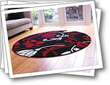 Infinite Damask Red And Cream Circle Rugs