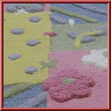 Kids Pink Flower Dots Rug
