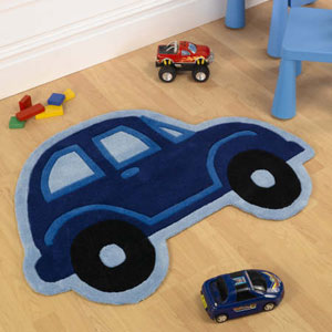 Name: Childrens Beetle Car Rugs Blue Boys Rug